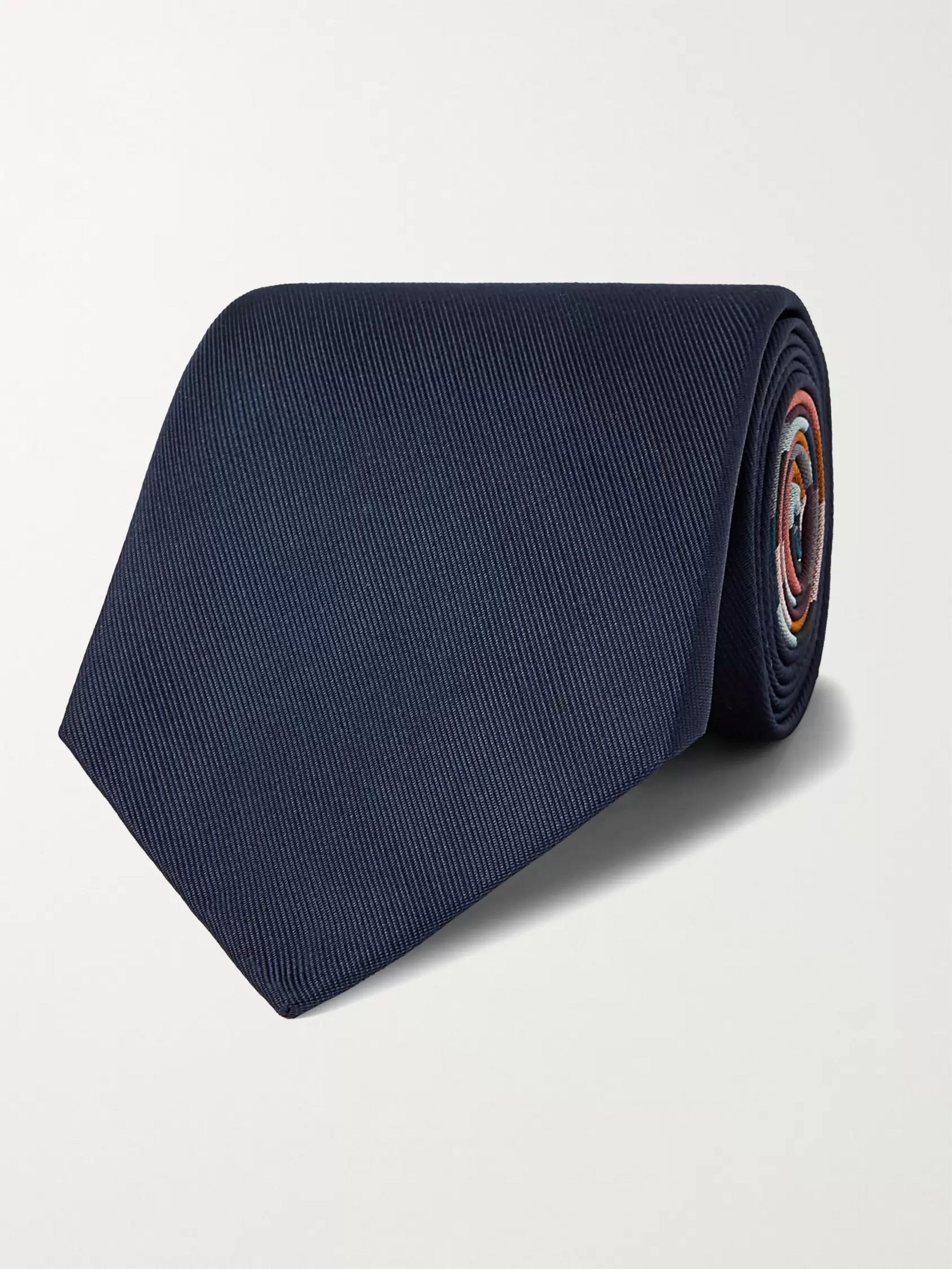 폴 스미스 Paul Smith 8cm Striped Silk Tie,Navy