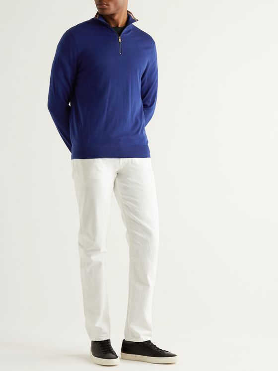 Paul Smith Slim-Fit Stripe-Trimmed Merino Wool Half-Zip Sweater