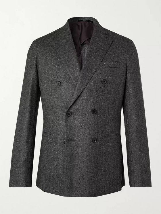 Paul Smith Double-Breasted Birdseye Mélange Wool Blazer