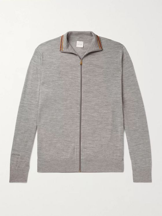 Paul Smith Slim-Fit Stripe-Trimmed Mélange Merino Wool Zip-Up Cardigan