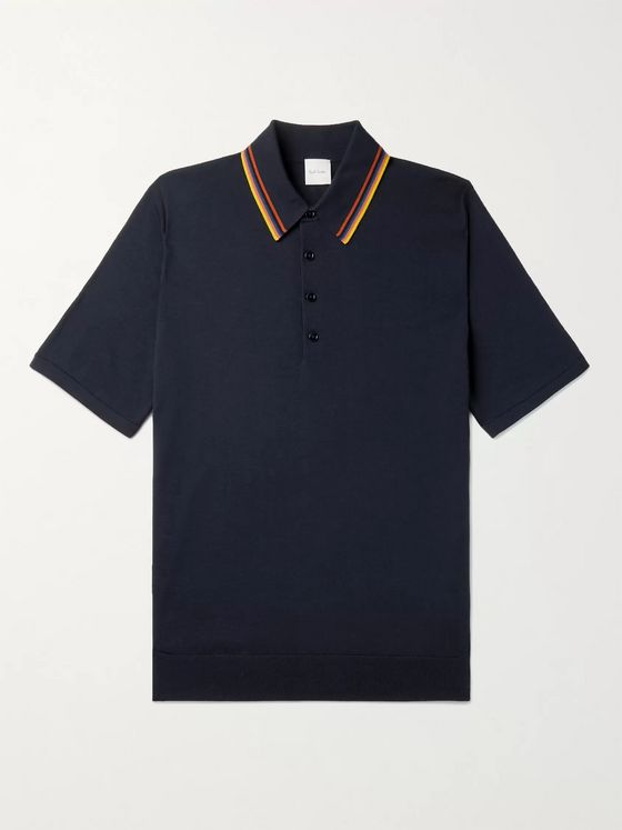 PAUL SMITH Stripe-Trimmed Merino Wool Polo Shirt