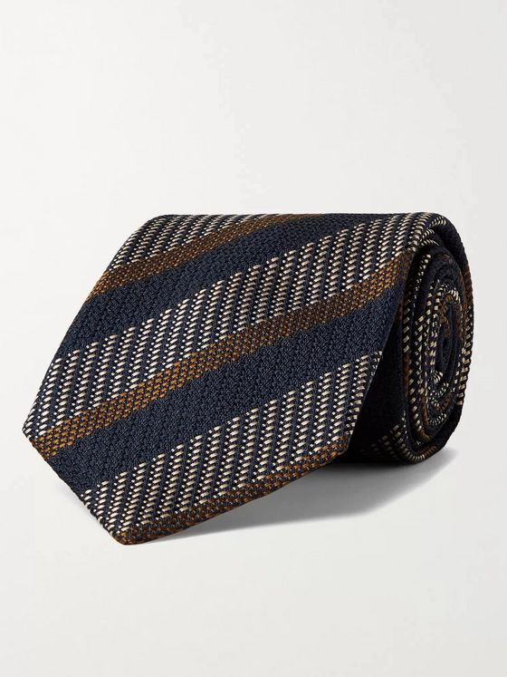 BRIONI 8cm Striped Silk-Jacquard Tie