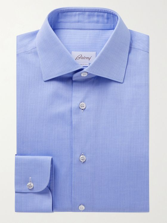 BRIONI William Slim-Fit Herringbone Cotton Shirt
