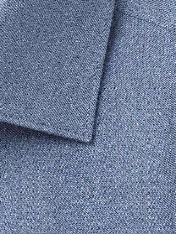 BRIONI William Slim-Fit Melangé Cotton-Chambray Shirt