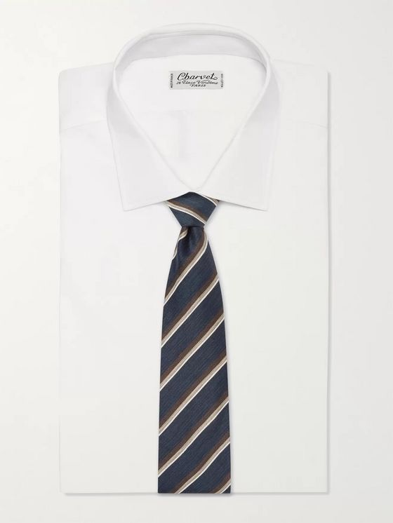 BRIONI 8cm Striped Linen and Silk-Blend Jacquard Tie
