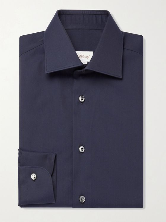 BRIONI William Herringbone Cotton Shirt