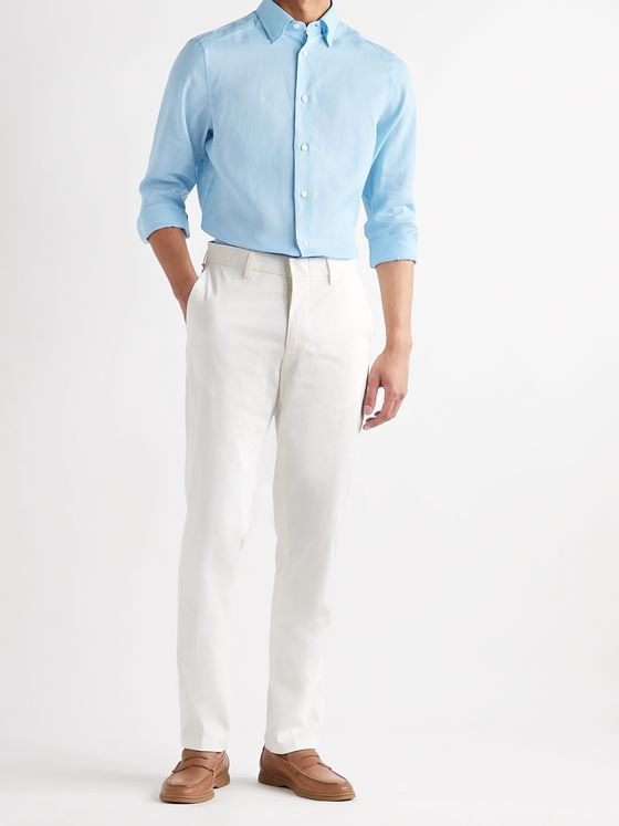 BRIONI Button-Down Collar Linen Shirt