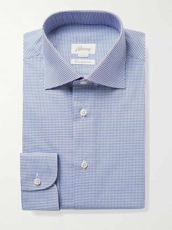 BRIONI William Slim-Fit Cutaway-Collar Checked Cotton-Twill Shirt