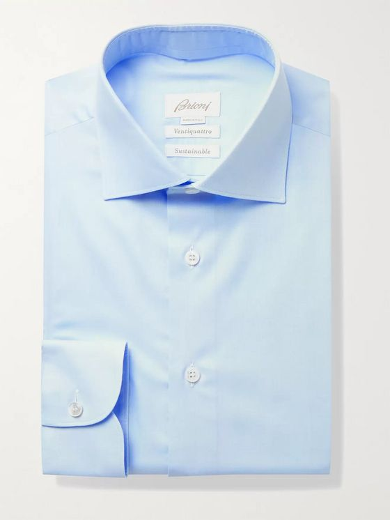 BRIONI William Slim-Fit Cutaway-Collar Cotton-Twill Shirt