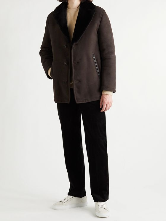 BRIONI Slim-Fit Leather-Trimmed Shearling Jacket