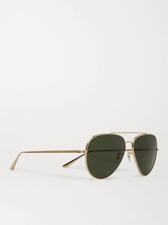 THE ROW + Oliver Peoples Casse Aviator-Style Gold-Tone Titanium Polarised Sunglasses