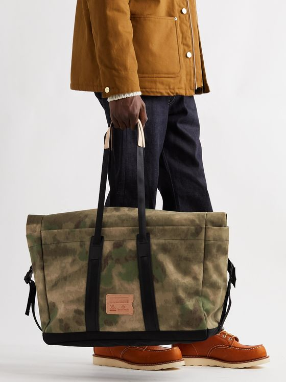 Bleu de Chauffe Leather-Trimmed Camouflage-Print Cotton-Canvas Holdall
