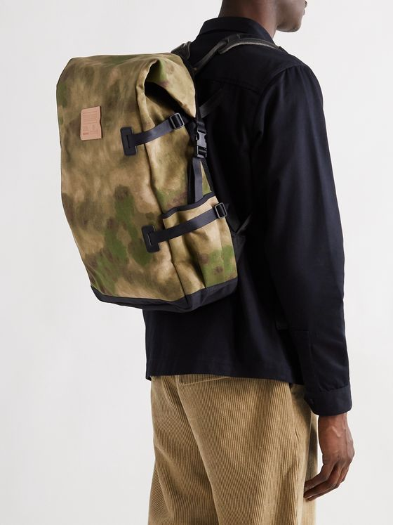 BLEU DE CHAUFFE Leather-Trimmed Camouflage-Print Cotton-Canvas Backpack
