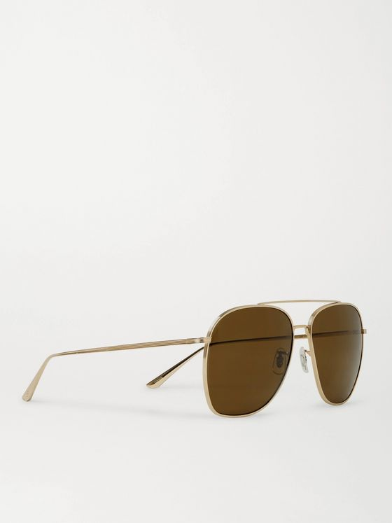 THE ROW + Oliver Peoples Ellerston Aviator-Style Gold-Tone Titanium Polarised Sunglasses