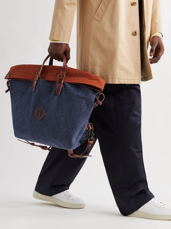 BLEU DE CHAUFFE Leather-Trimmed Denim and Cotton-Canvas Backpack
