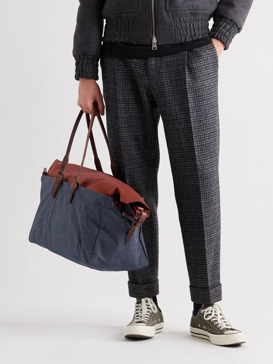 BLEU DE CHAUFFE Cabine Leather-Trimmed Colour-Block Denim and Waxed Cotton-Canvas Holdall