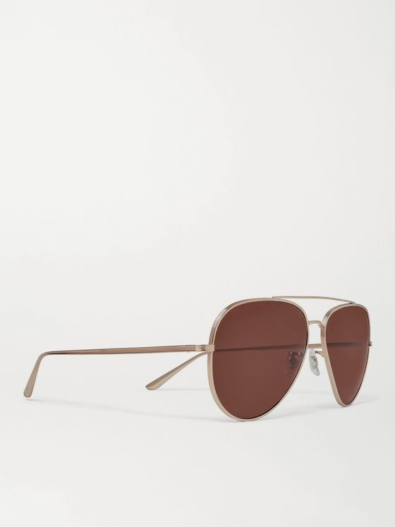 THE ROW + Oliver Peoples Casse Aviator-Style Gold-Tone Titanium Sunglasses