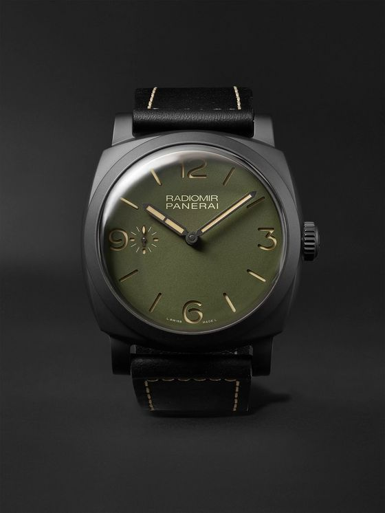 PANERAI Radiomir Hand-Wound 48mm Ceramic and Leather Watch, Ref. No. PAM00997