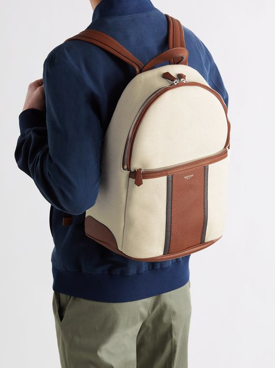 SERAPIAN Canvas and Full-Grain Leather Backpack