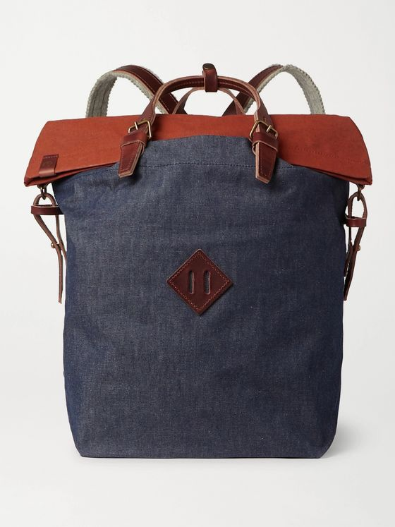 BLEU DE CHAUFFE Leather-Trimmed Colour-Block Denim and Waxed Cotton-Canvas Backpack