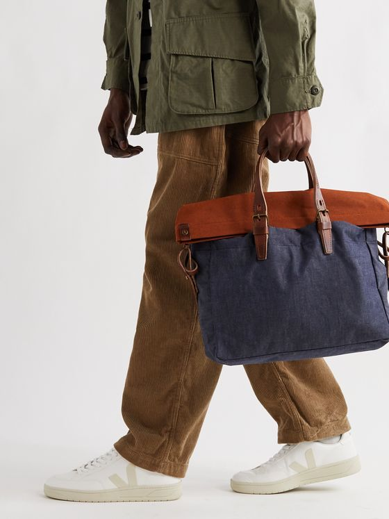 BLEU DE CHAUFFE Leather-Trimmed Denim and Cotton-Canvas Holdall