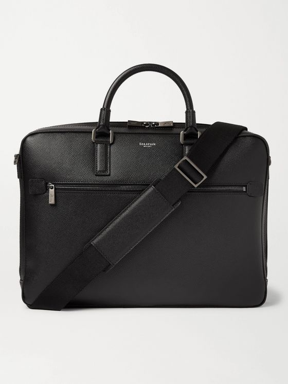 SERAPIAN Pebble-Grain Leather Briefcase