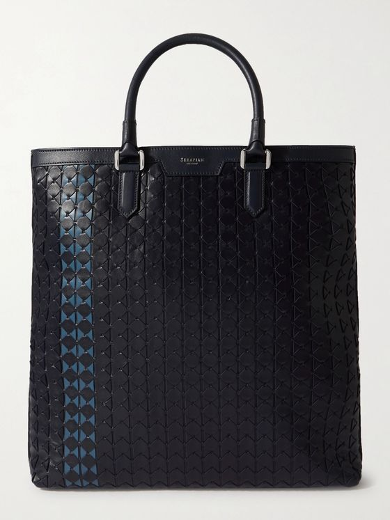SERAPIAN Two-Tone Woven Leather Tote Bag