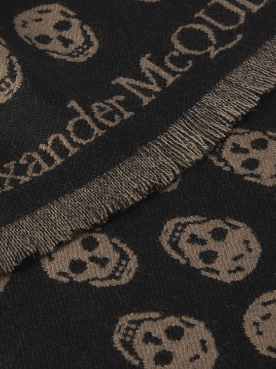 ALEXANDER MCQUEEN Reversible Fringed Logo-Jacquard Wool Scarf