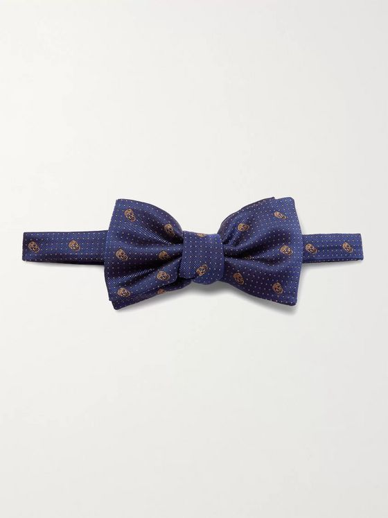 ALEXANDER MCQUEEN Pre-Tied Skull and Polka-Dot Jacquard Silk-Twill Bow Tie