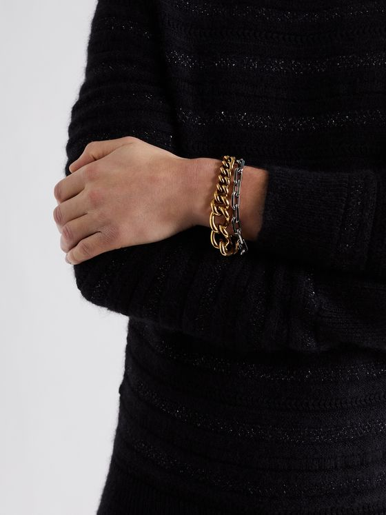 ALEXANDER MCQUEEN Silver and Gold-Tone Bracelet