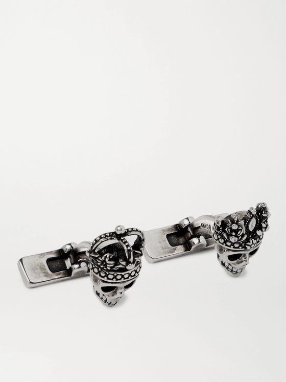ALEXANDER MCQUEEN Burnished Silver-Tone Cufflinks