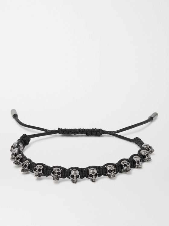 ALEXANDER MCQUEEN Silver-Tone and Woven Leather Bracelet
