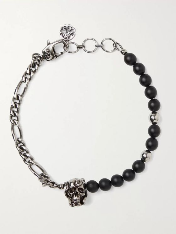 ALEXANDER MCQUEEN Burnished Silver-Tone and Bead Bracelet