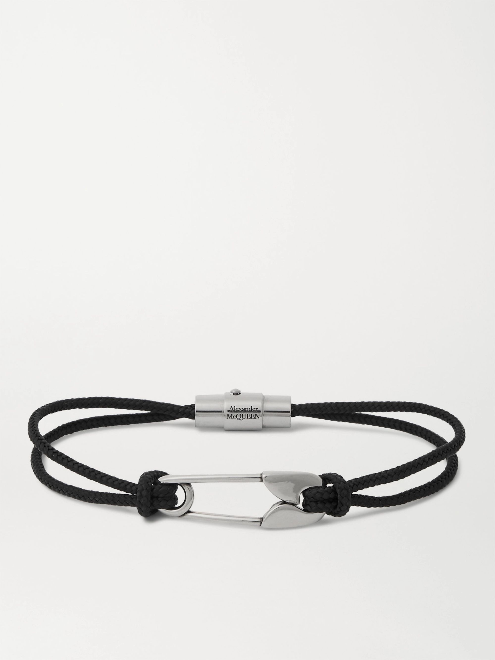 알렉산더 맥퀸 팔찌 Alexander McQueen Safety Pin Cord and Silver Bracelet,Black