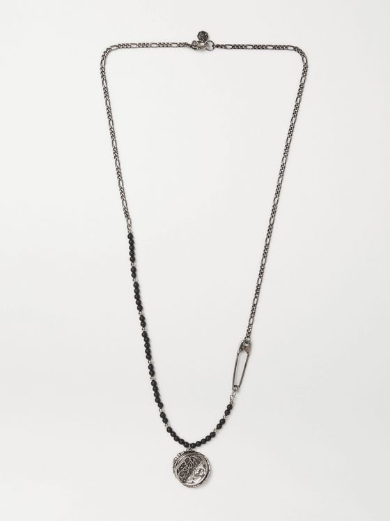 ALEXANDER MCQUEEN Burnished Silver-Tone and Bead Pendant Necklace