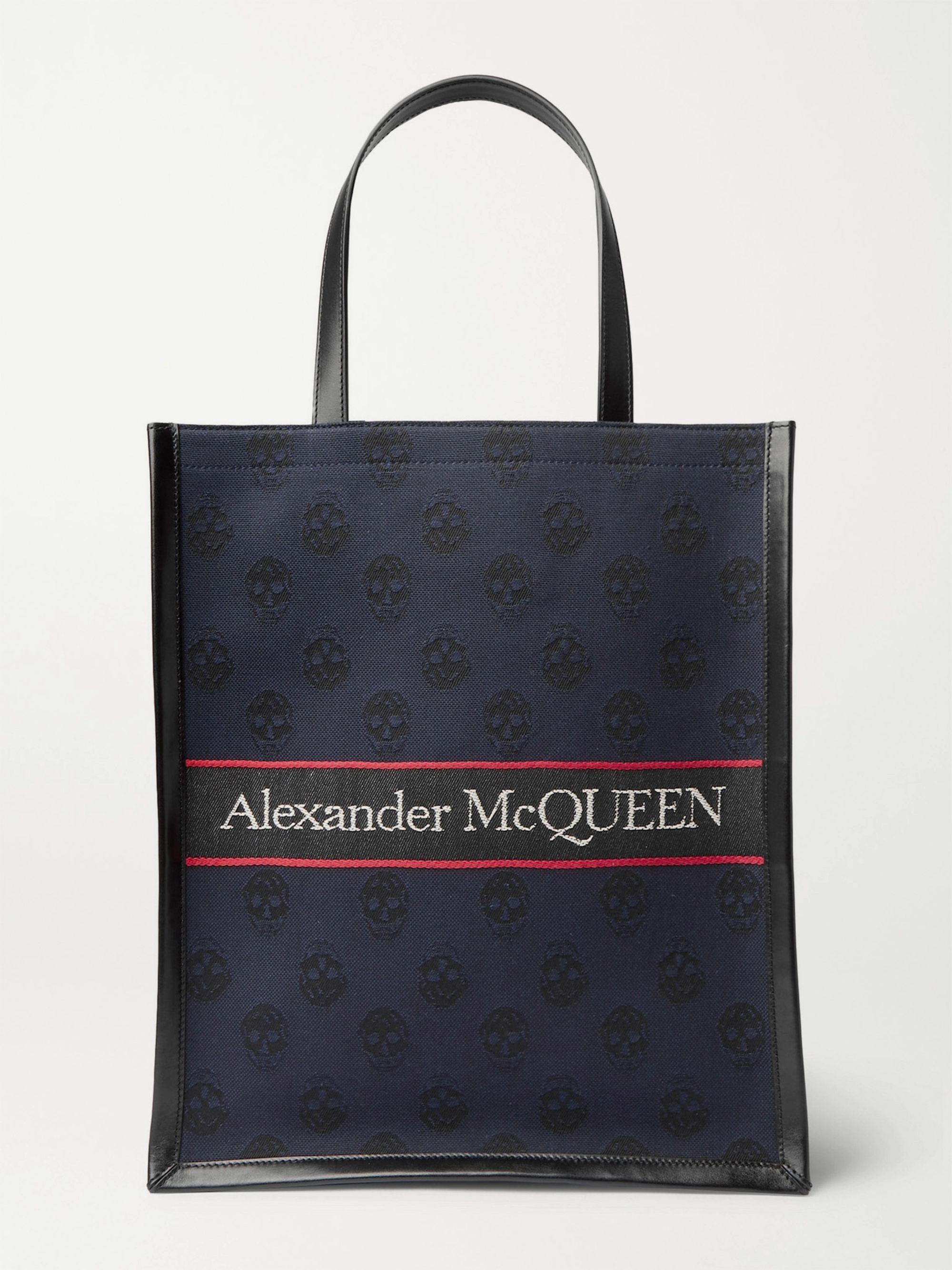 알렉산더 맥퀸 Alexander McQueen Logo-Jacquard Leather Tote Bag,Navy