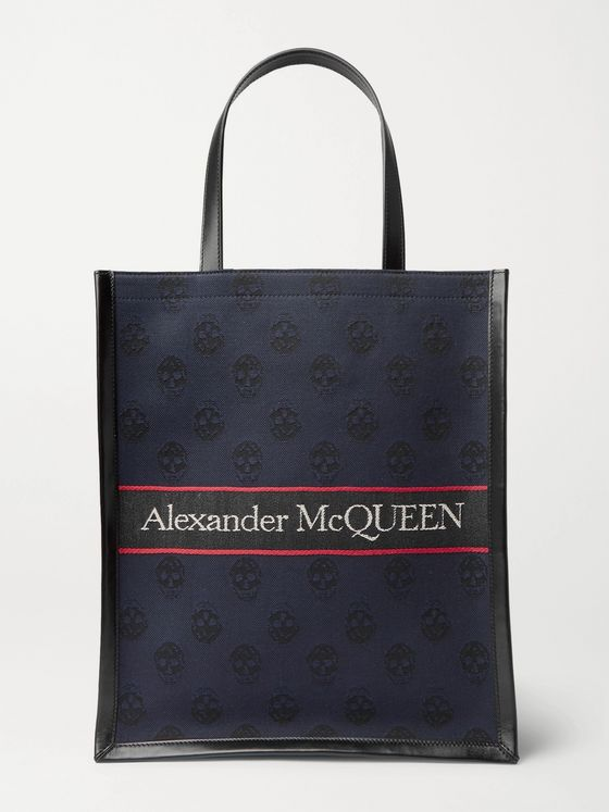 ALEXANDER MCQUEEN Logo-Jacquard Leather Tote Bag