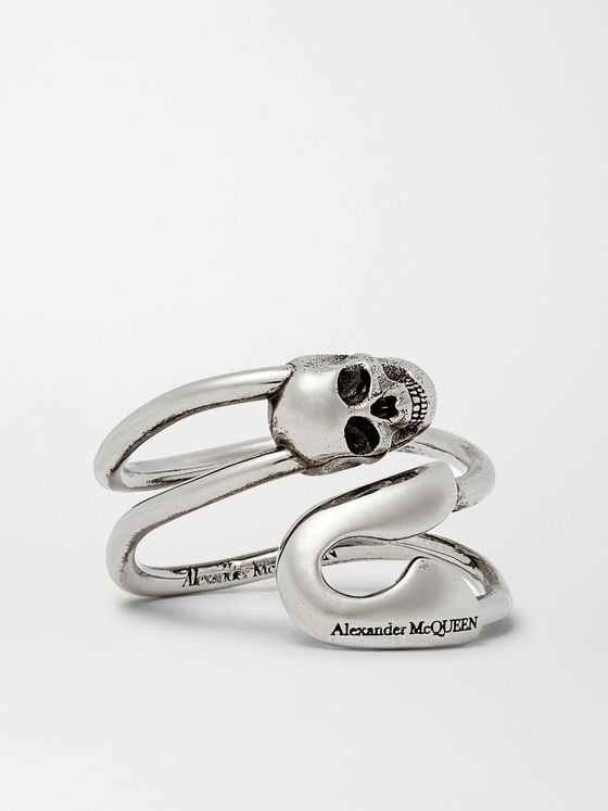 ALEXANDER MCQUEEN Skull Burnished Silver-Tone Ring
