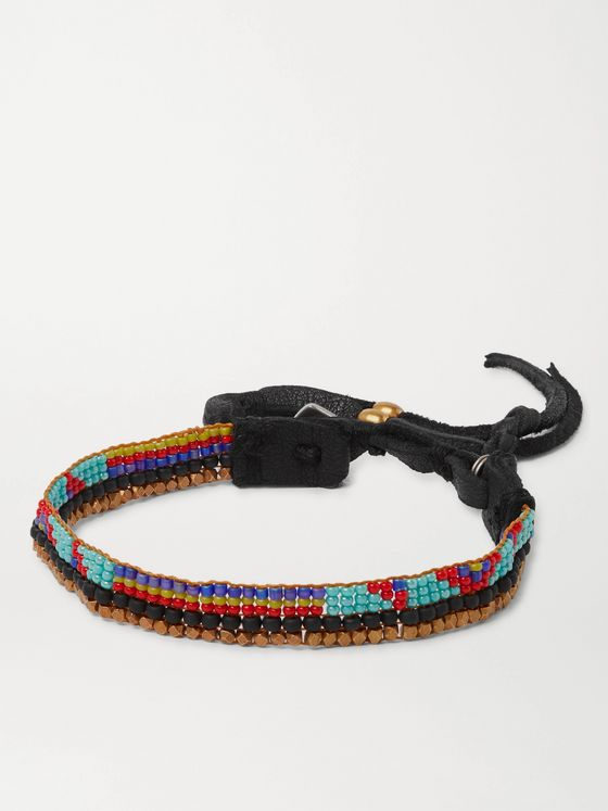 PEYOTE BIRD Leather-Trimmed Beaded Bracelet