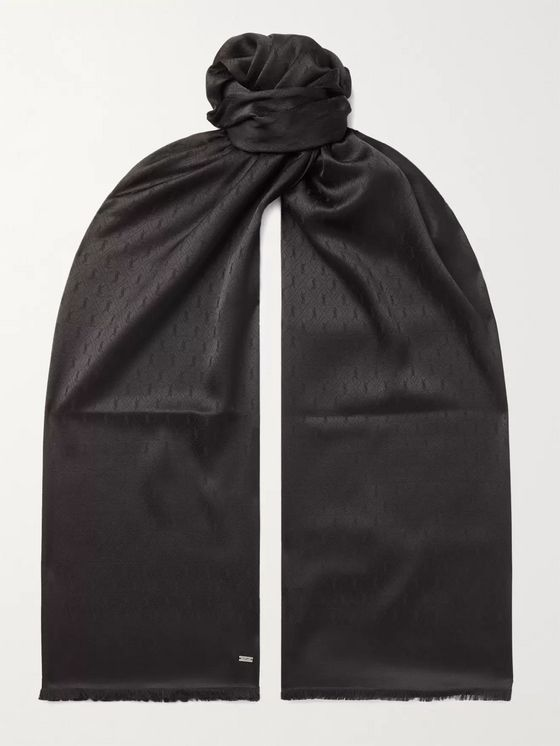SAINT LAURENT Fringed Logo-Jacquard Silk Scarf