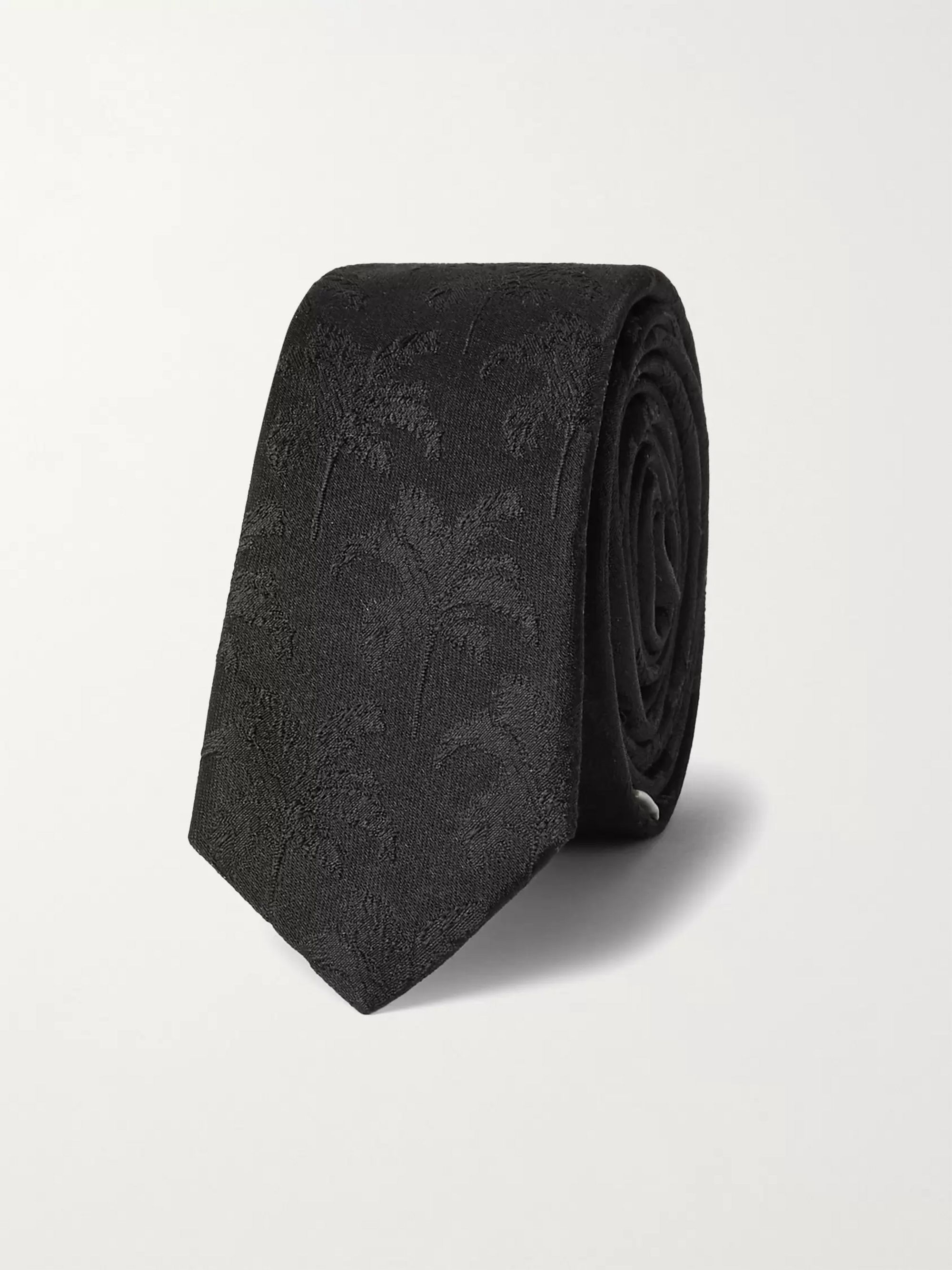생 로랑 Saint Laurent 4cm Silk-Jacquard Tie,Black