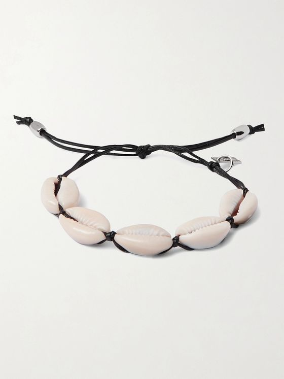 SAINT LAURENT Leather and Shell Bracelet