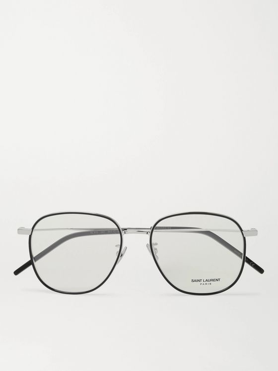 SAINT LAURENT Round-Frame Silver-Tone and Acetate Optical Glasses