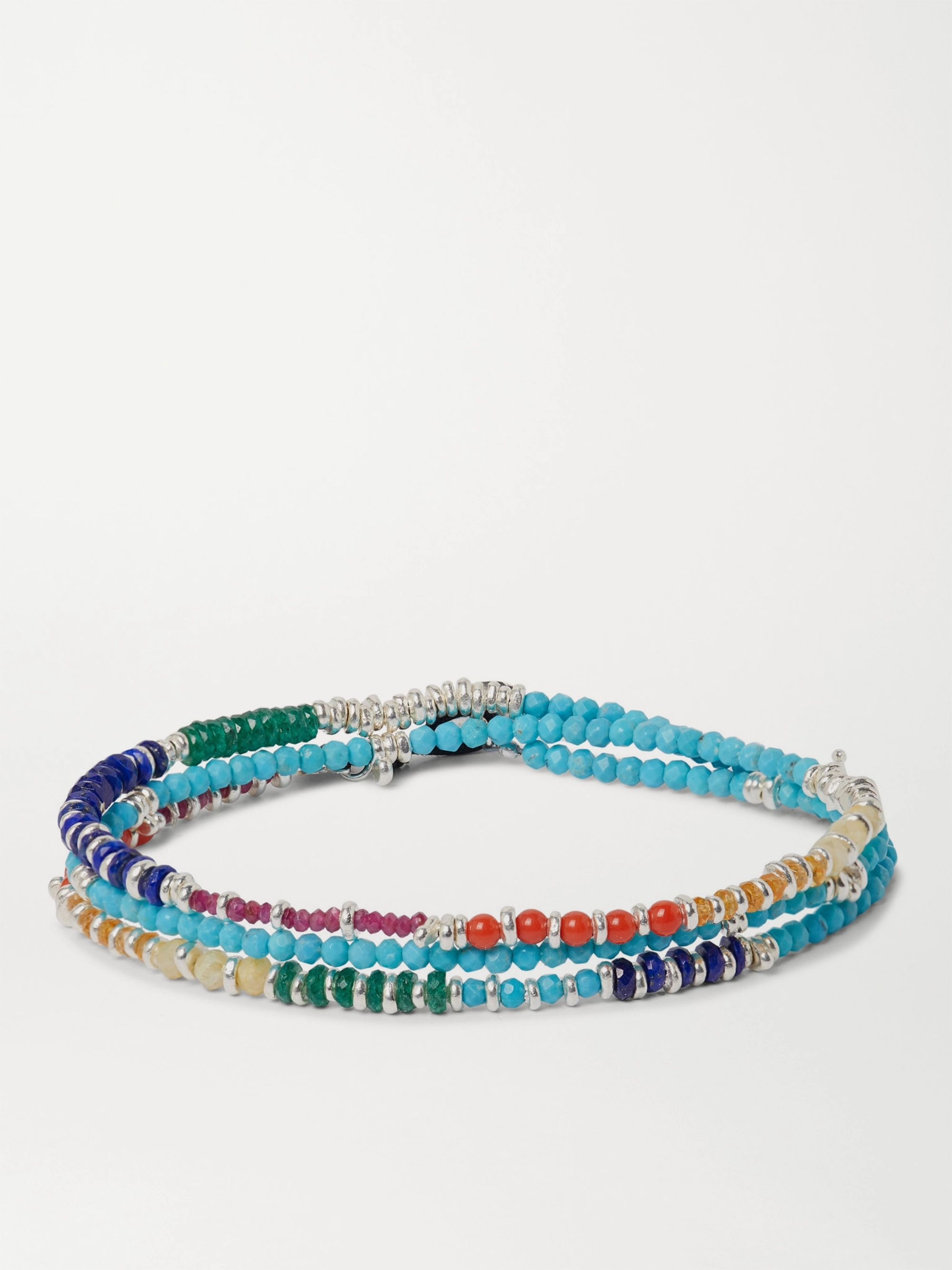 Peyote Bird Multi-Stone and Sterling Silver Beaded Wrap Bracelet,Blue