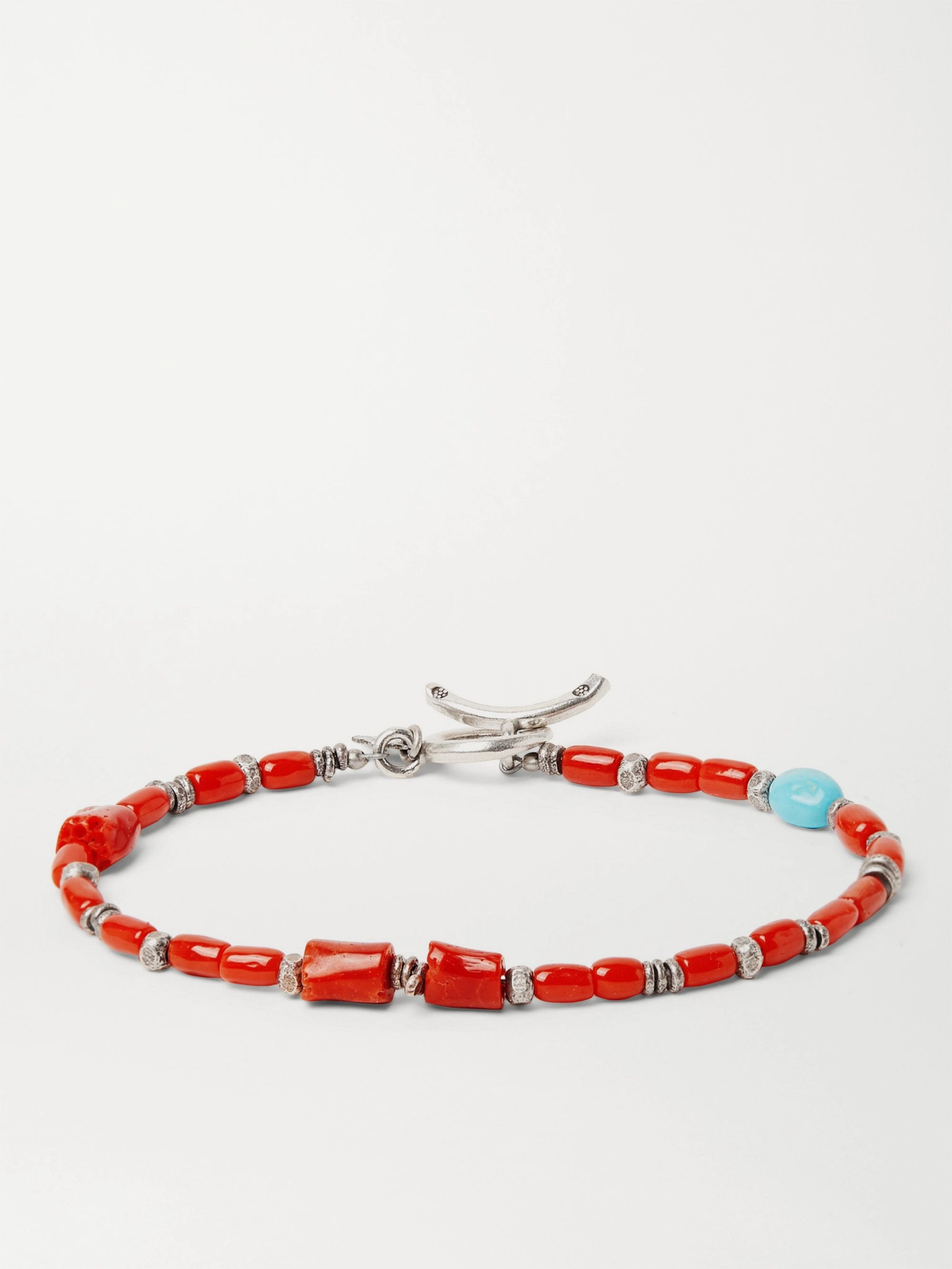 Peyote Bird Coral Turquoise and Burnished Sterling Silver Bracelet,Red