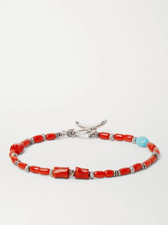 Peyote Bird Coral, Turquoise and Burnished Sterling Silver Bracelet