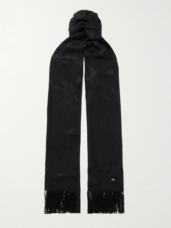 SAINT LAURENT Fringed Silk-Jacquard Scarf