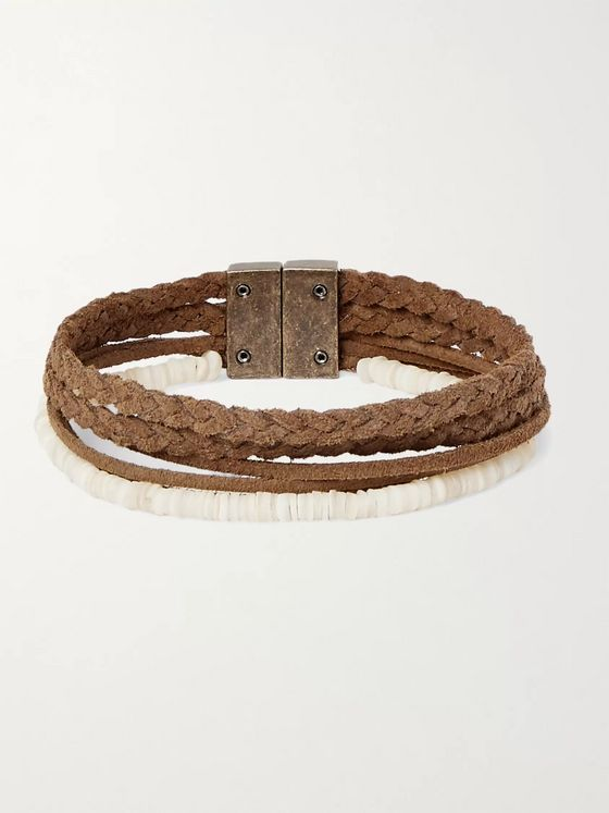 SAINT LAURENT Shell and Braided Suede Bracelet