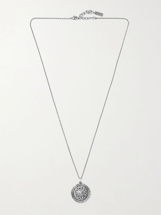SAINT LAURENT Gunmetal-Tone Pendant Necklace