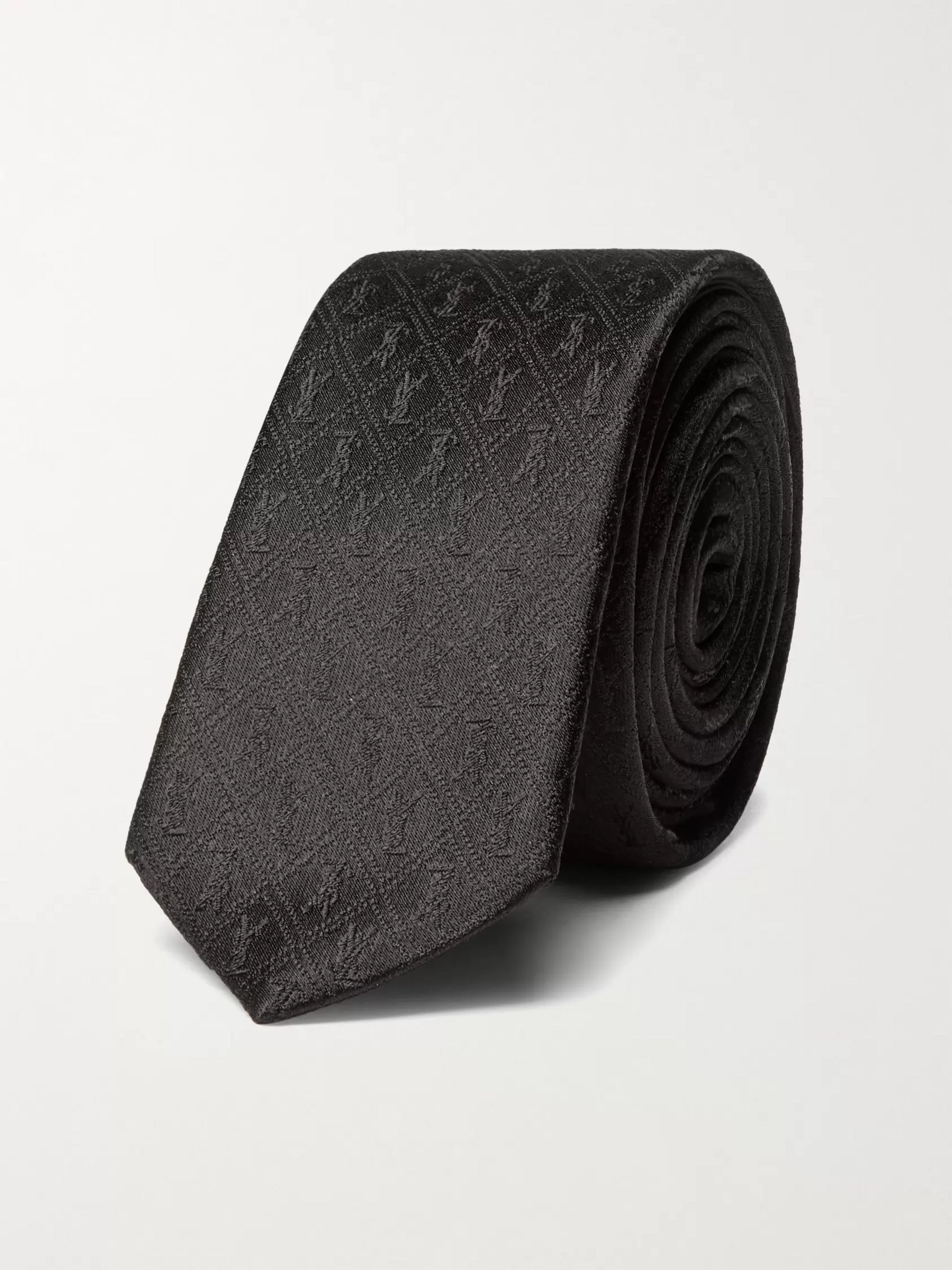 생 로랑 Saint Laurent 4cm Logo-Jacquard Silk Tie,Black